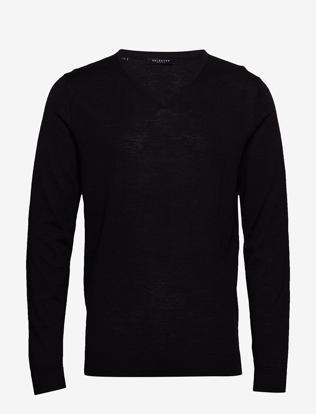 Selected Homme - SLHTOWER NEW MERINO V-NECK B NOOS - basic strik - black - 0
