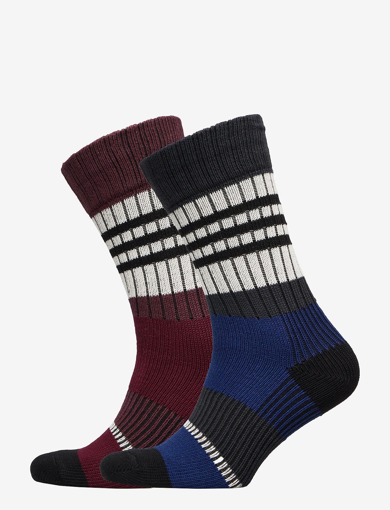 Selected Homme - SLH2-PACK HEAVY STRIPE SOCK W - regular socks - estate blue