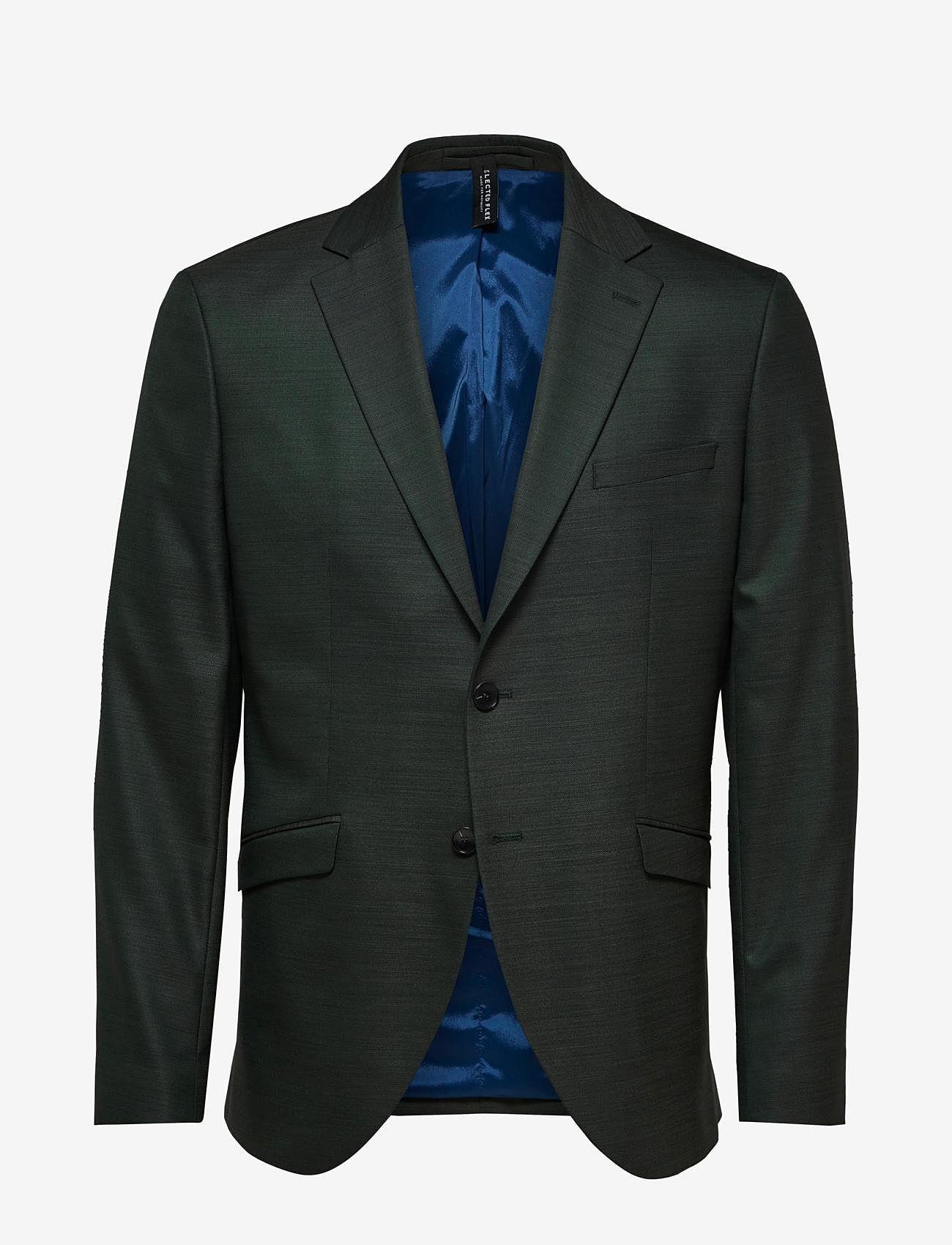 Selected Homme - SLHSLIM-MYLOSTATE FLEX GREEN BLZ B - single breasted blazers - dark green - 0