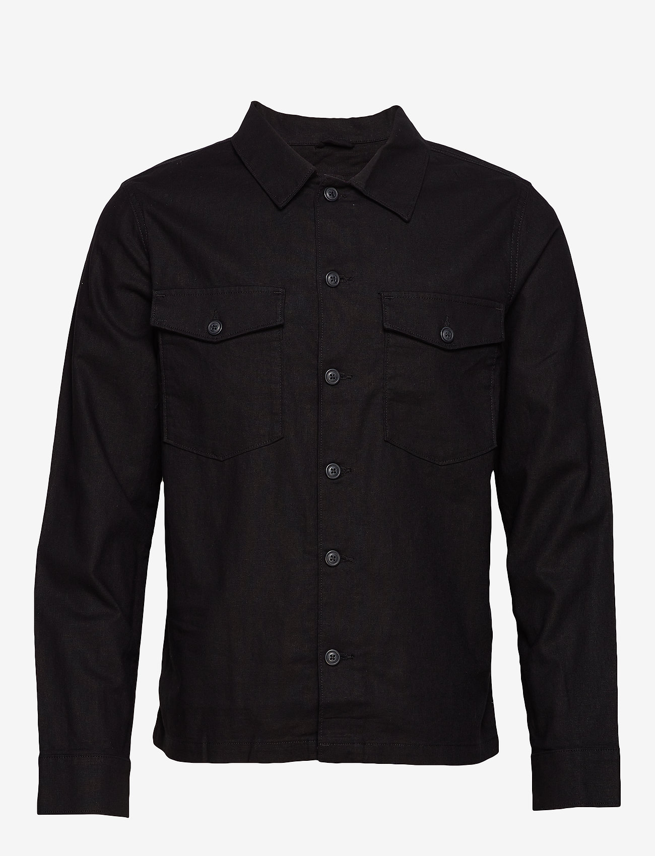Selected Homme - SLHEAST LINEN OVERSHIRT W - chemises basiques - black - 0