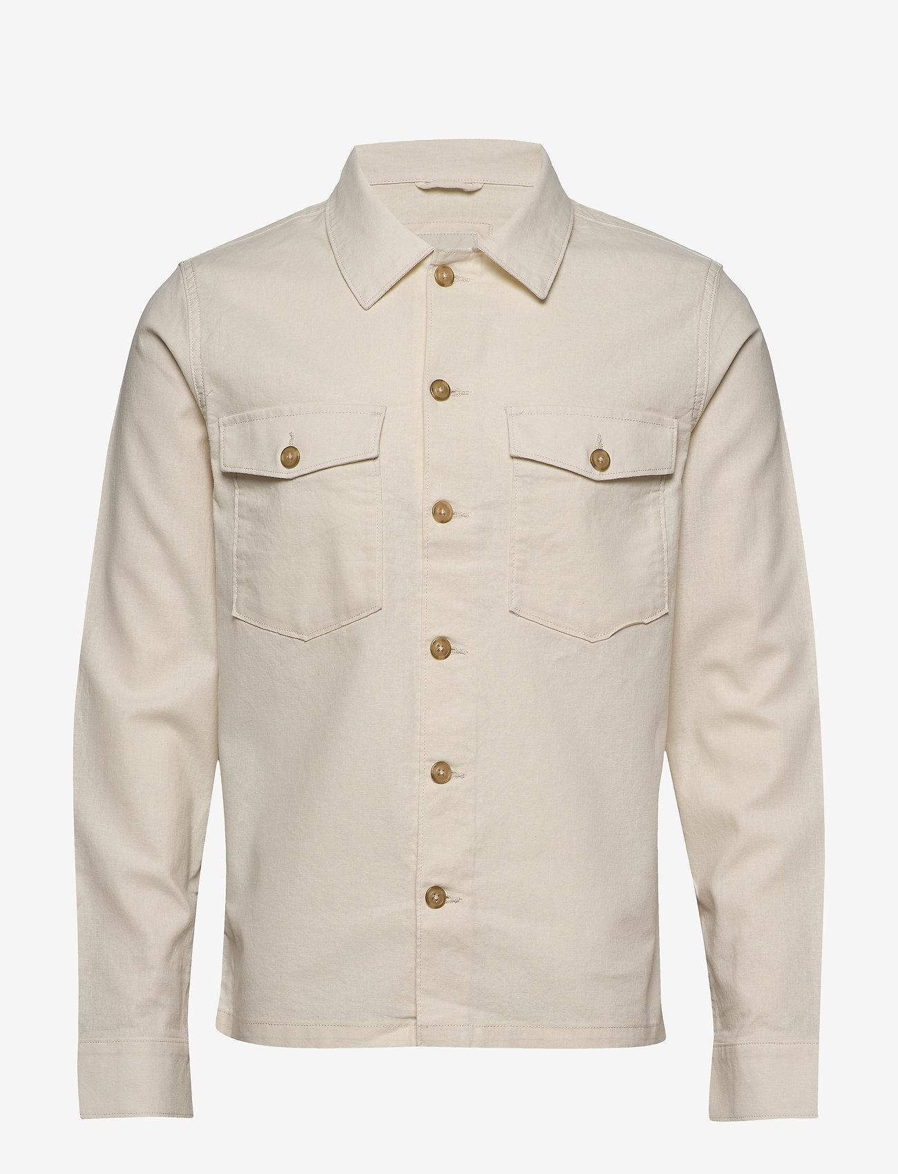 Selected Homme - SLHEAST LINEN OVERSHIRT W - basic skjorter - turtledove - 0