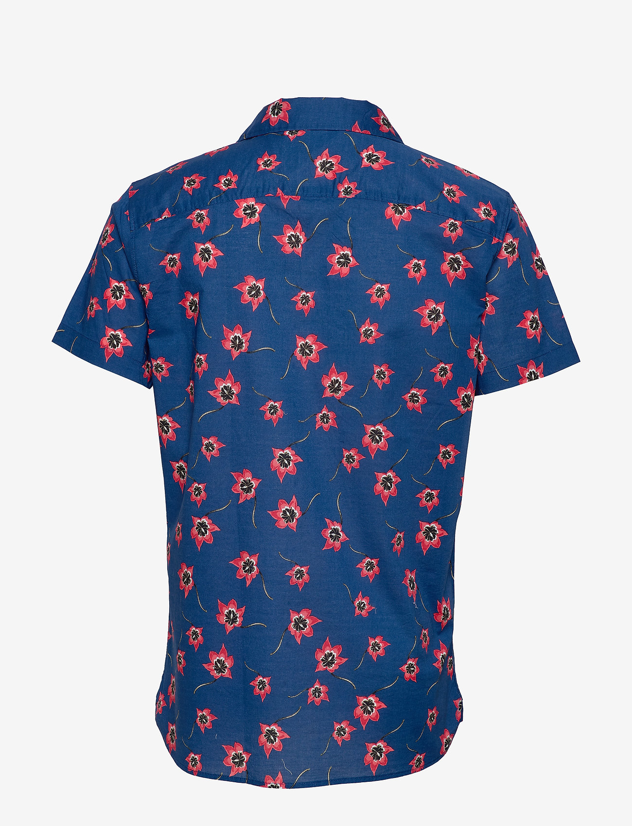Selected Homme - SLHSLIMGALE SHIRT SS AOP W CAMP - short-sleeved shirts - estate blue