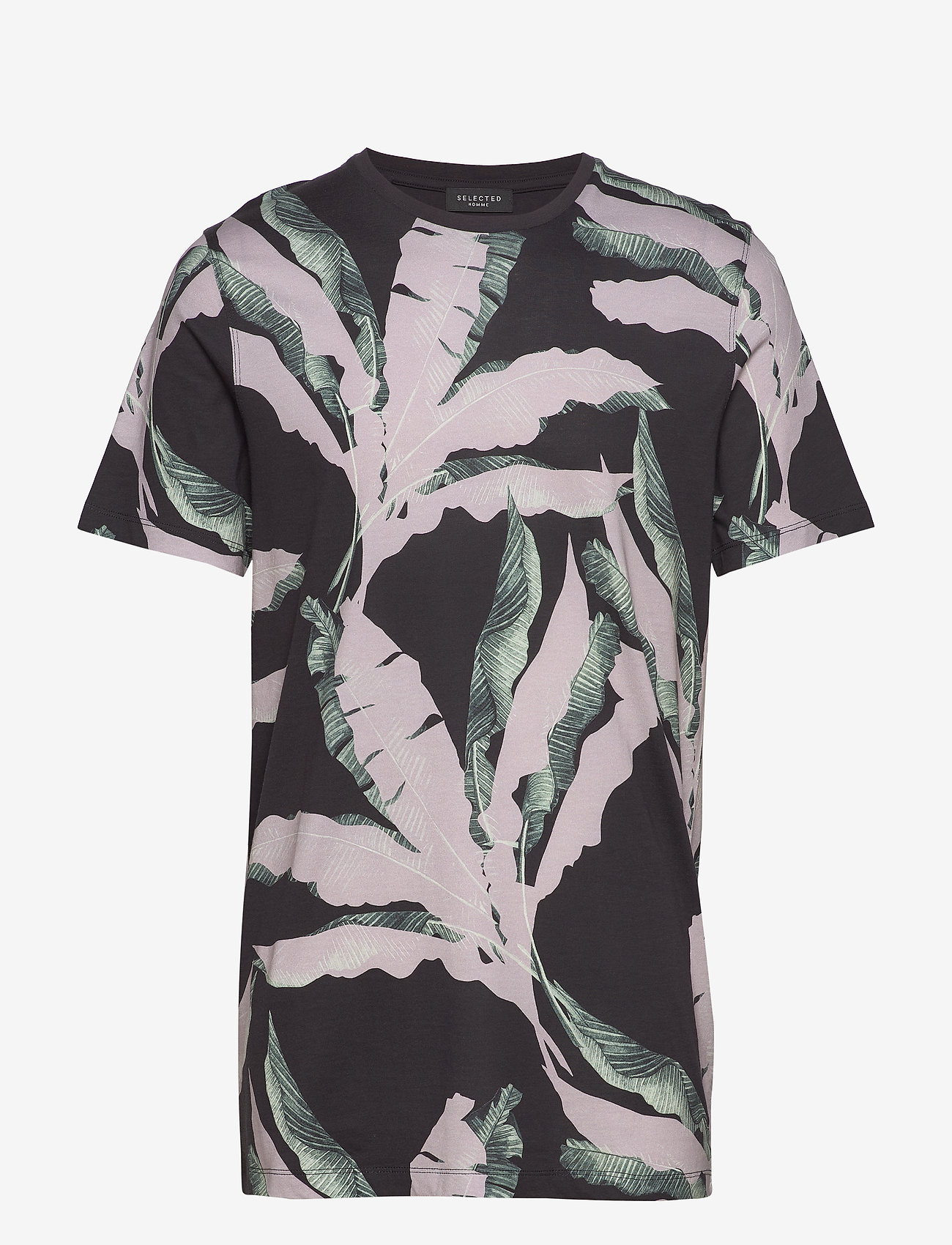 Selected Homme - SLHAVALON AOP SS O-NECK  TEE B - short-sleeved t-shirts - black