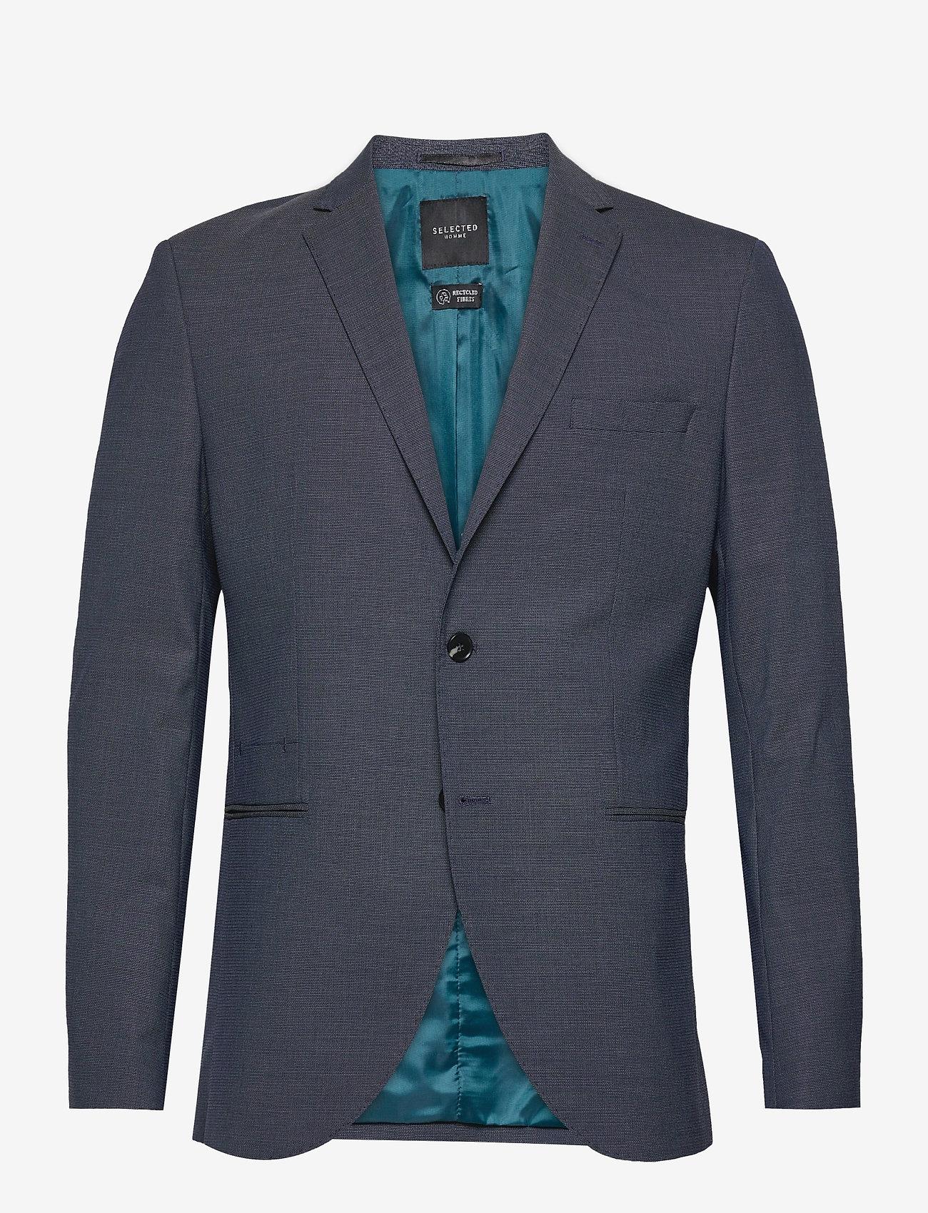 Selected Homme - SLHSLIM-MAZELOGAN BLUE STRUC BLZ B - single breasted blazers - medium blue melange - 0