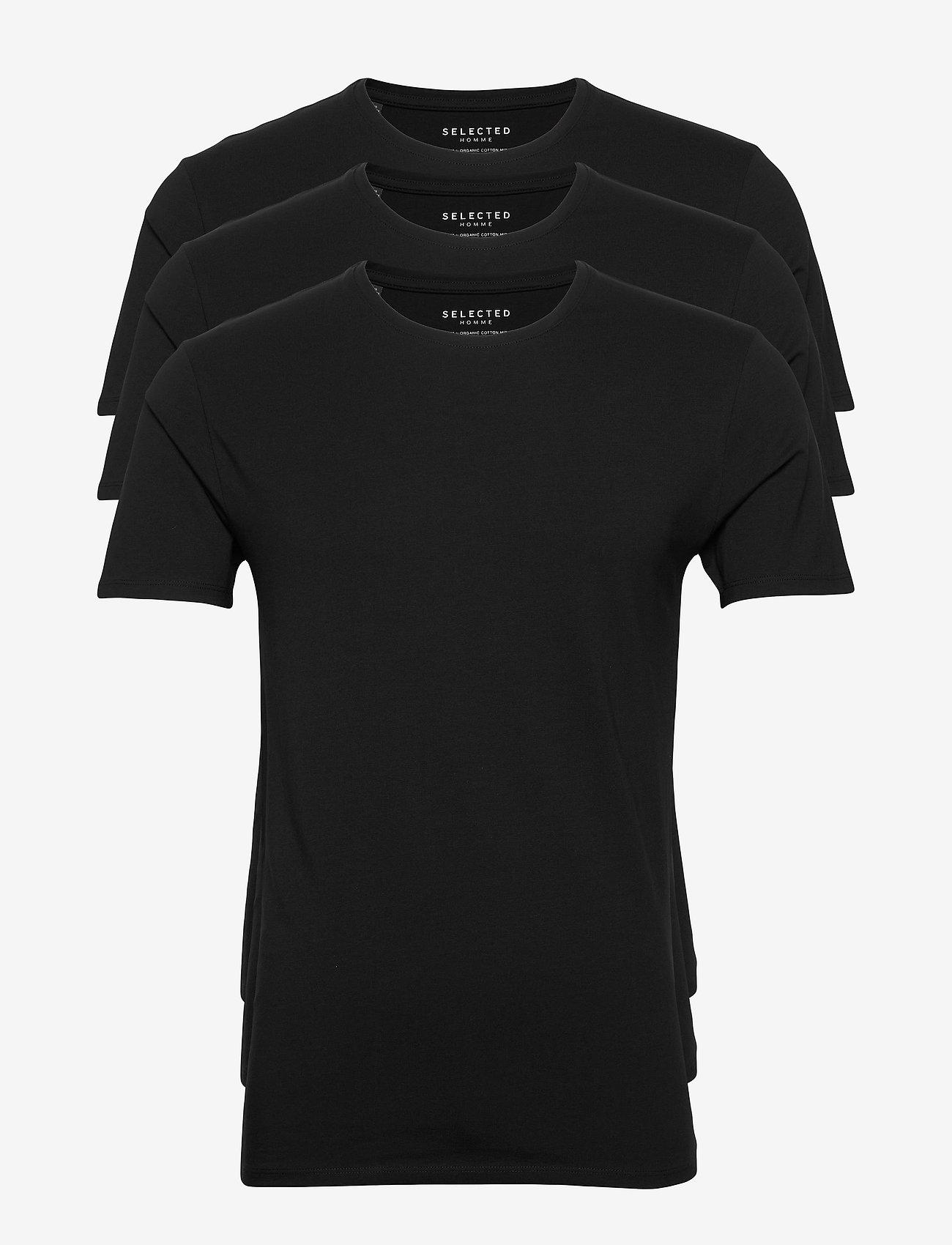Selected Homme - SLHNEWPIMA SS O-NECK TEE B 3 PACK - basic t-shirts - black - 0