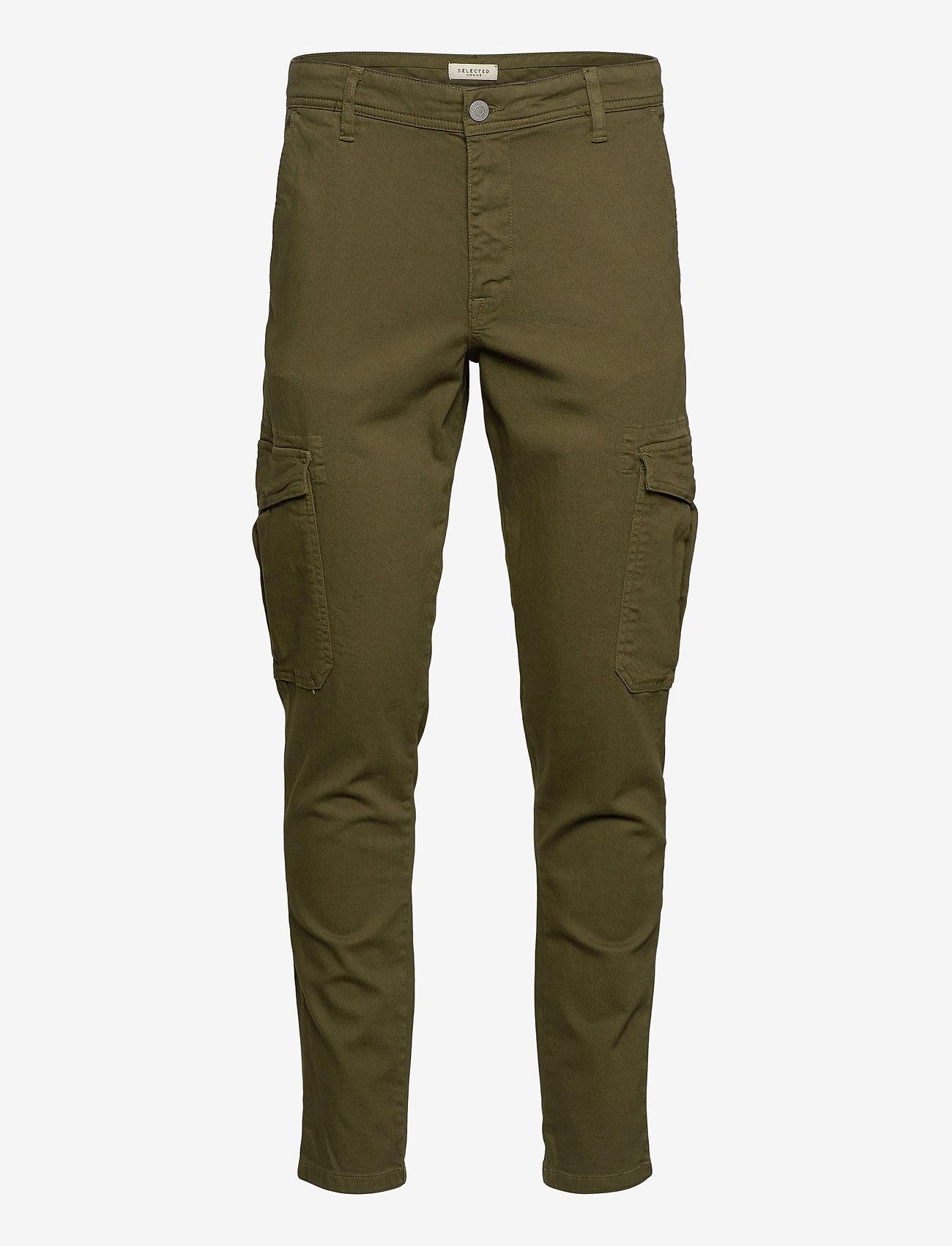 Selected Homme - SLHSLIMCOMFORT-AARON PANTS W - cargobukser - dark olive - 0