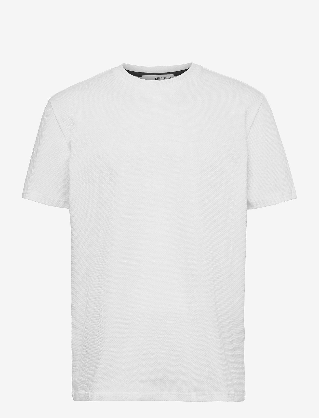 Selected Homme - SLHRELAXWAFFLE SS O-NECK TEE G - podstawowe koszulki - bright white - 0