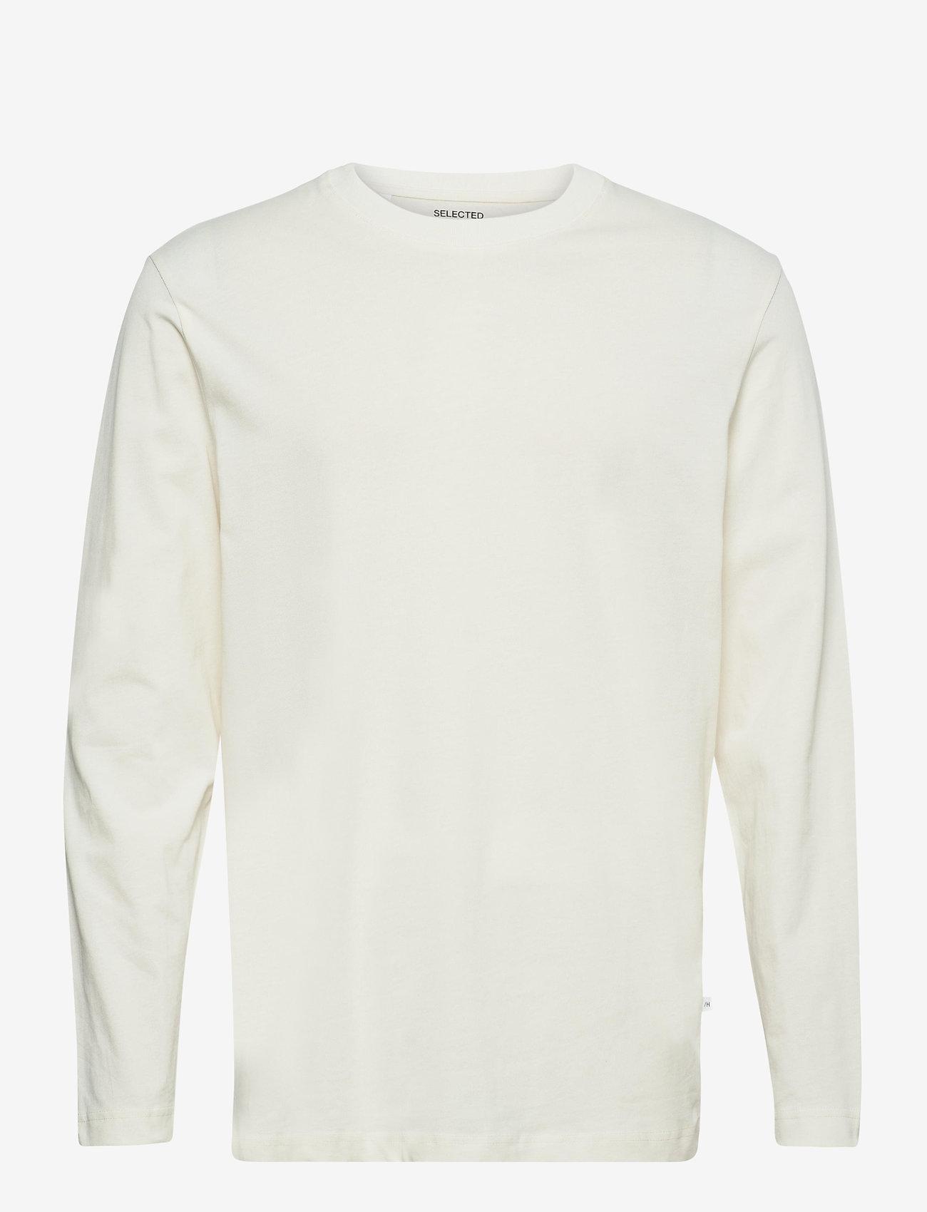 Selected Homme - SLHRELAXCOLMAN200 LS O-NECK TEE W - podstawowe koszulki - egret - 0