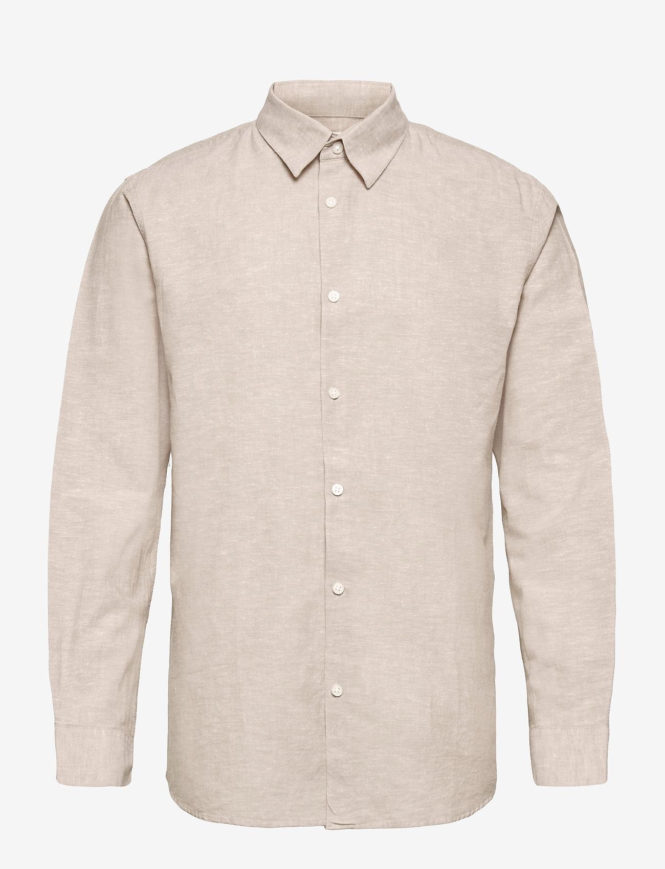 Selected Homme - SLHSLIMNEW-LINEN SHIRT LS CLASSIC W - chemises à carreaux - crockery - 0