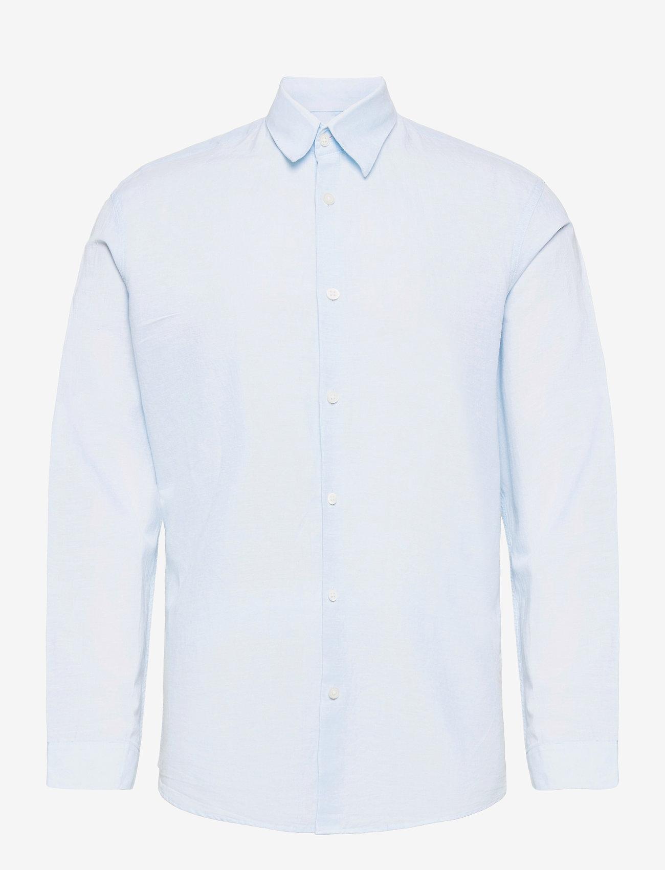 Selected Homme - SLHSLIMNEW-LINEN SHIRT LS CLASSIC W - chemises à carreaux - skyway - 0