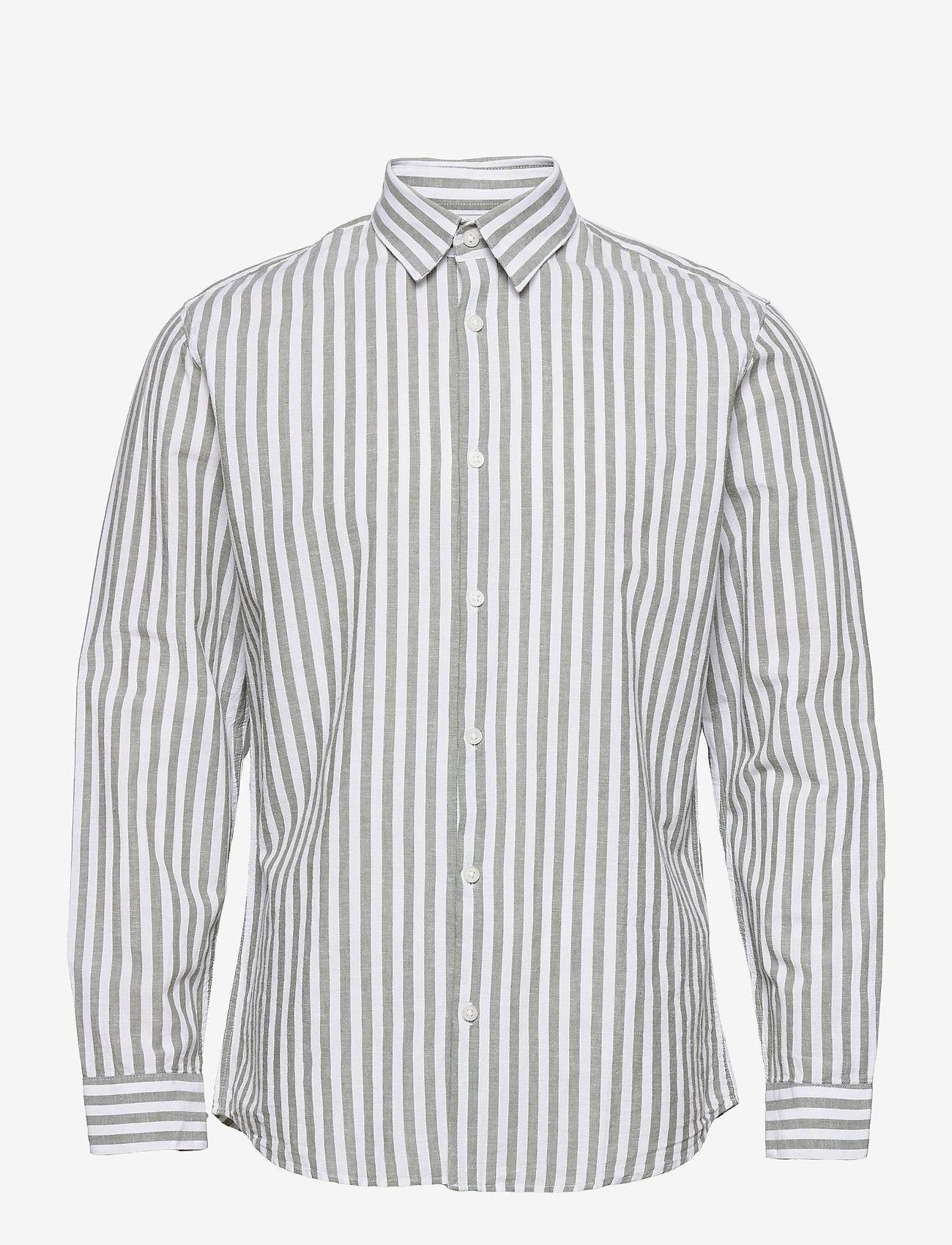 Selected Homme - SLHSLIMNEW-LINEN SHIRT LS CLASSIC W - geruite overhemden - smoke green - 0