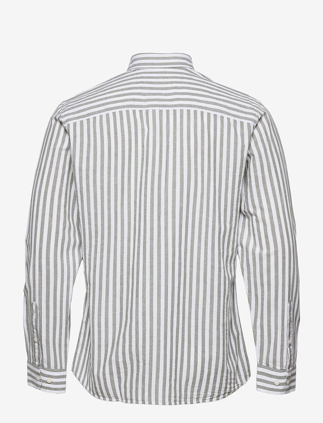 Selected Homme - SLHSLIMNEW-LINEN SHIRT LS CLASSIC W - geruite overhemden - smoke green - 1