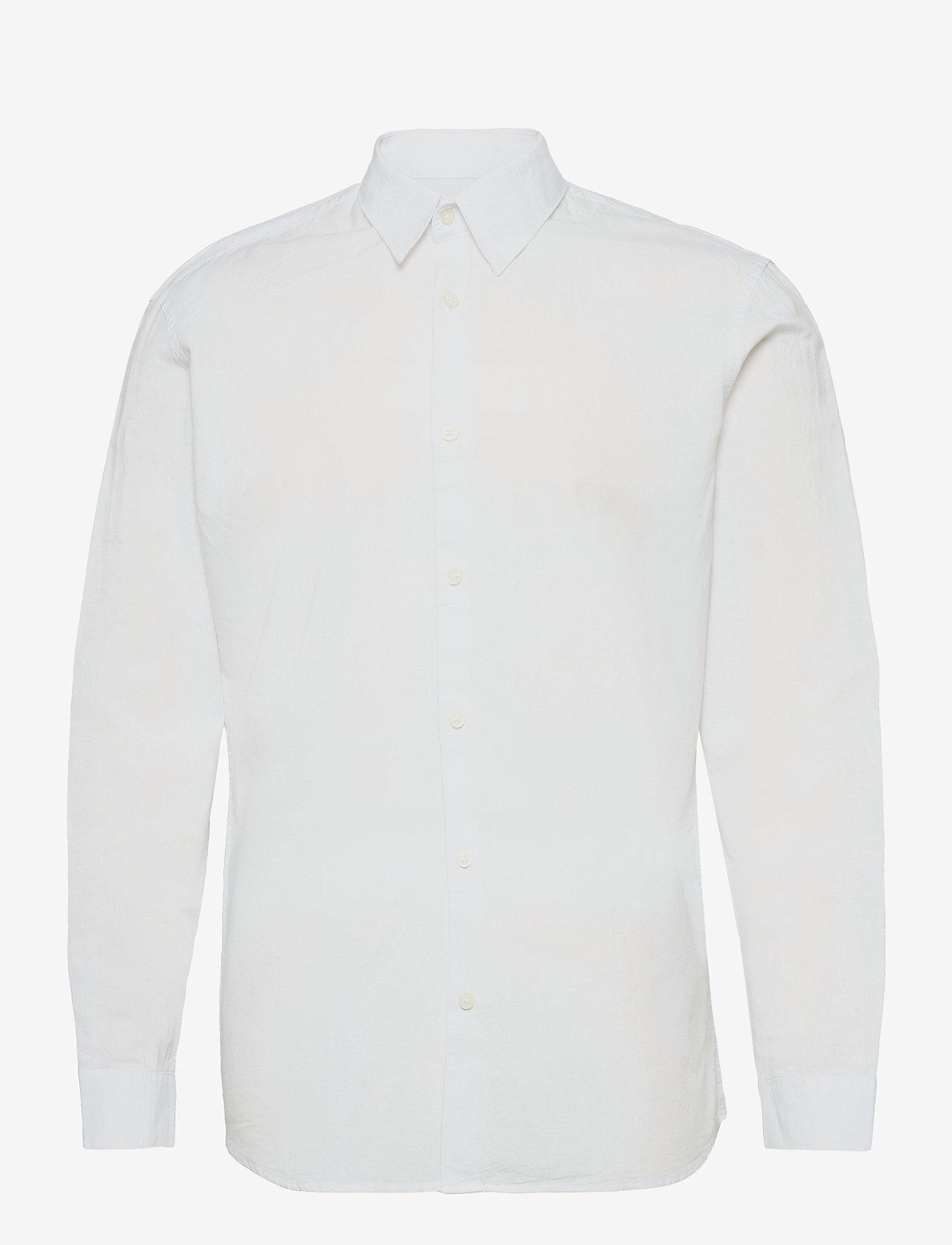Selected Homme - SLHSLIMNEW-LINEN SHIRT LS CLASSIC W - chemises à carreaux - white - 0