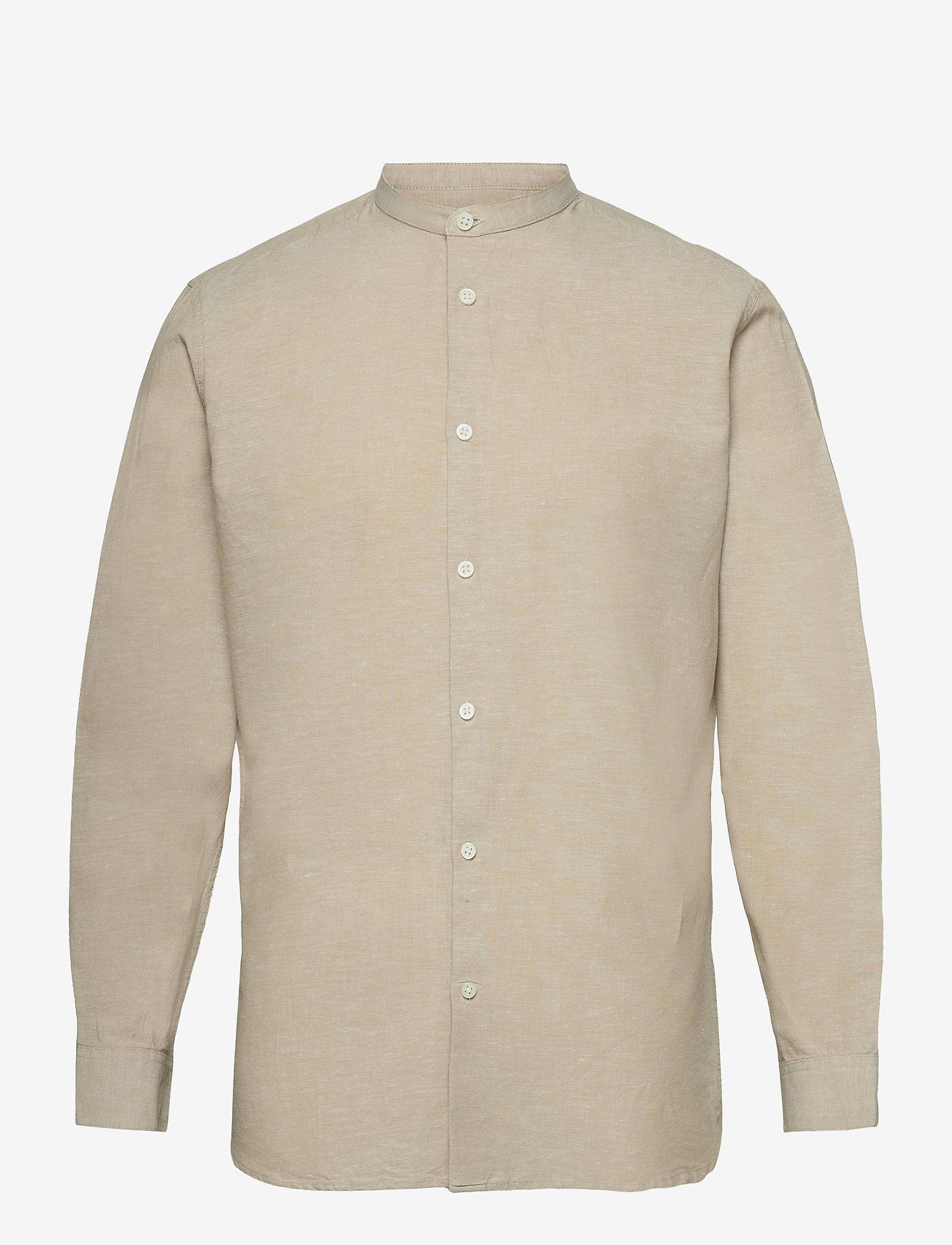 Selected Homme - SLHSLIMNEW-LINEN SHIRT LS CHINA W - geruite overhemden - crockery - 0