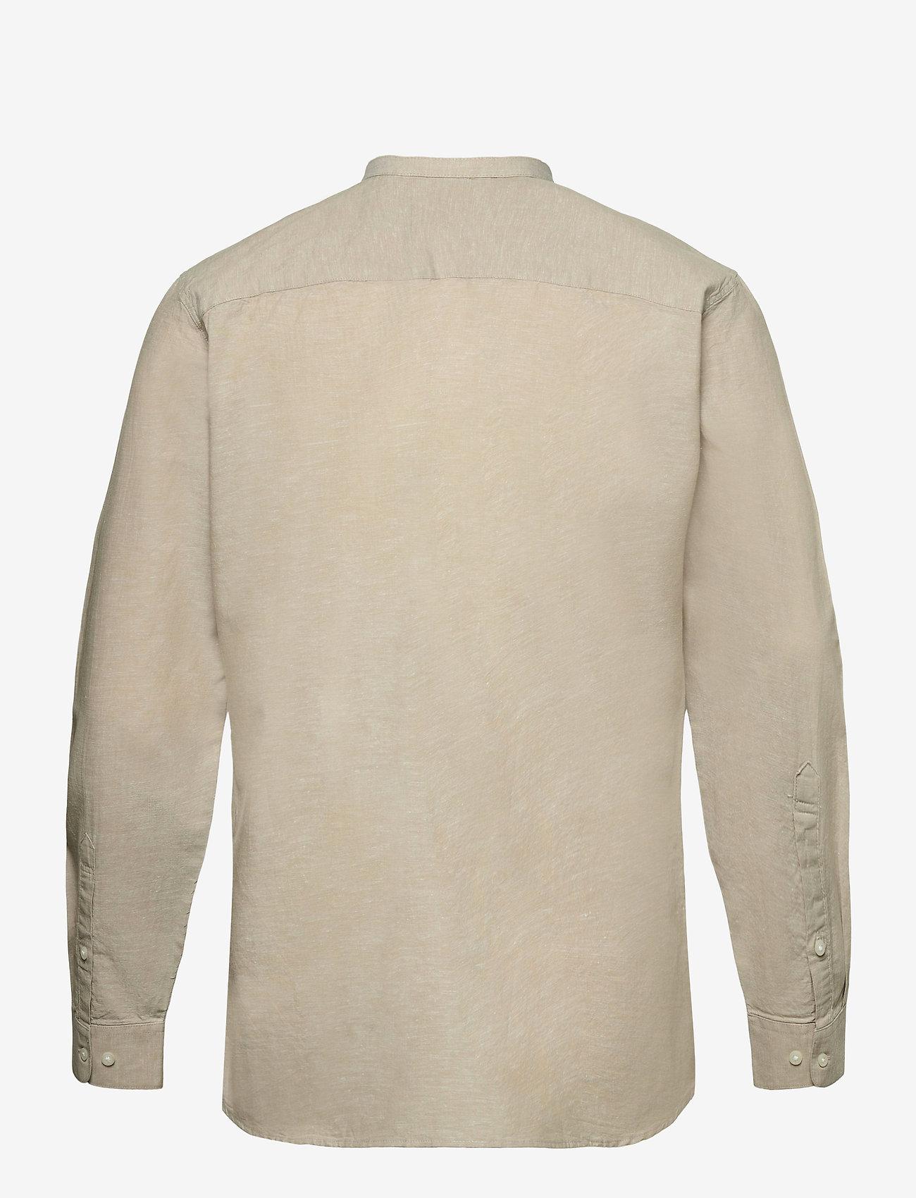 Selected Homme - SLHSLIMNEW-LINEN SHIRT LS CHINA W - geruite overhemden - crockery - 1