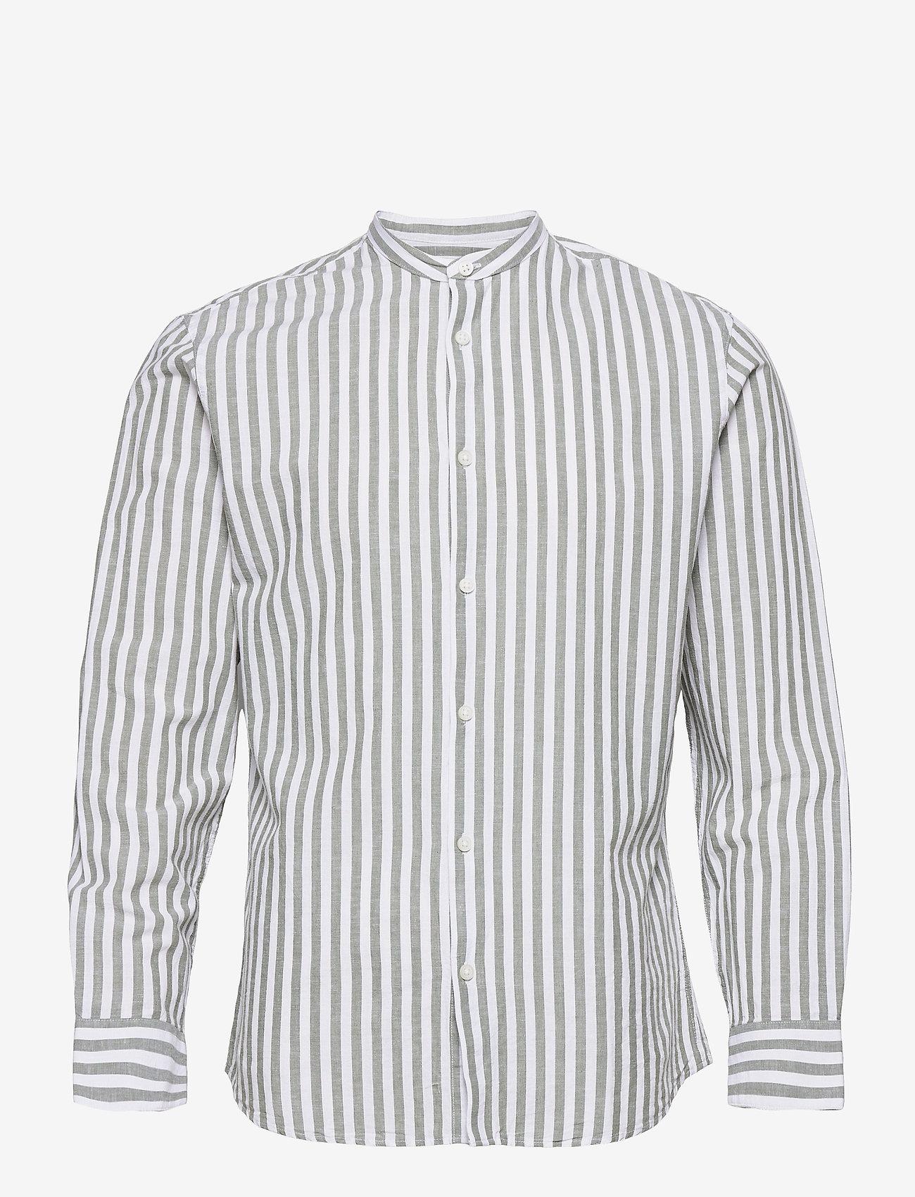 Selected Homme - SLHSLIMNEW-LINEN SHIRT LS CHINA W - koszule w kratkę - smoke green - 0