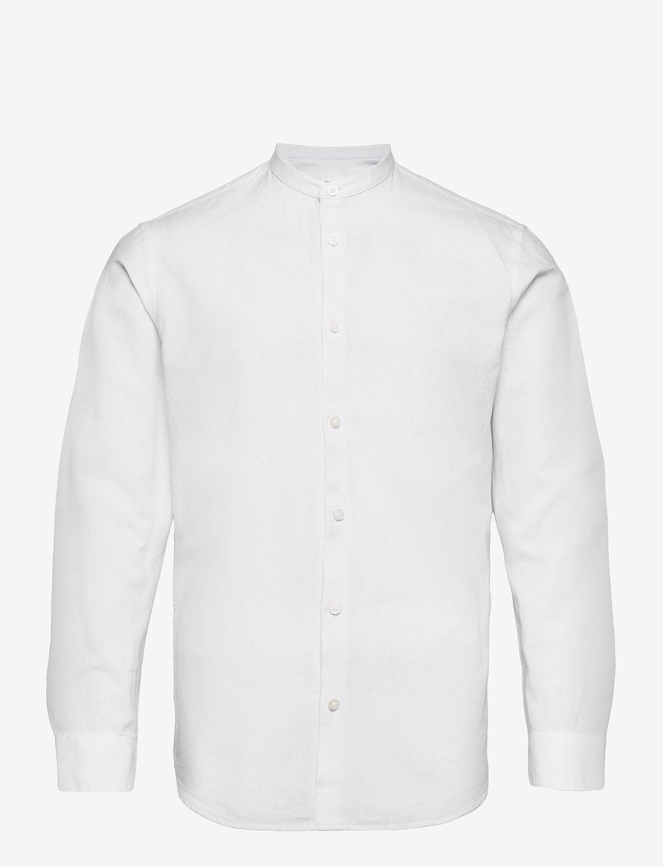 Selected Homme - SLHSLIMNEW-LINEN SHIRT LS CHINA W - chemises à carreaux - white - 0