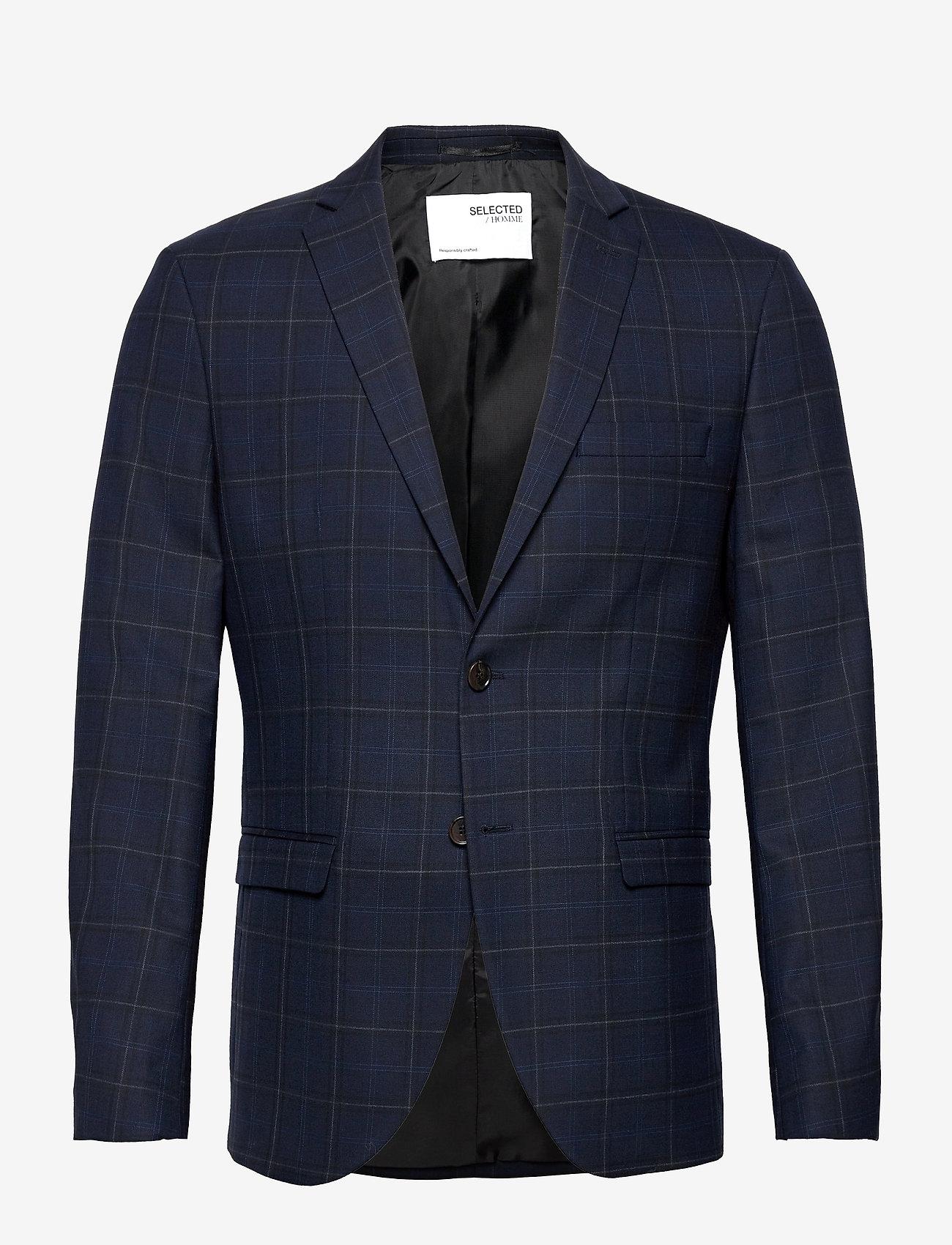 Selected Homme - SLHSLIM-MYLOBILL DK BLU GRCHK BLZ B - blazers à boutonnage simple - dark blue - 0