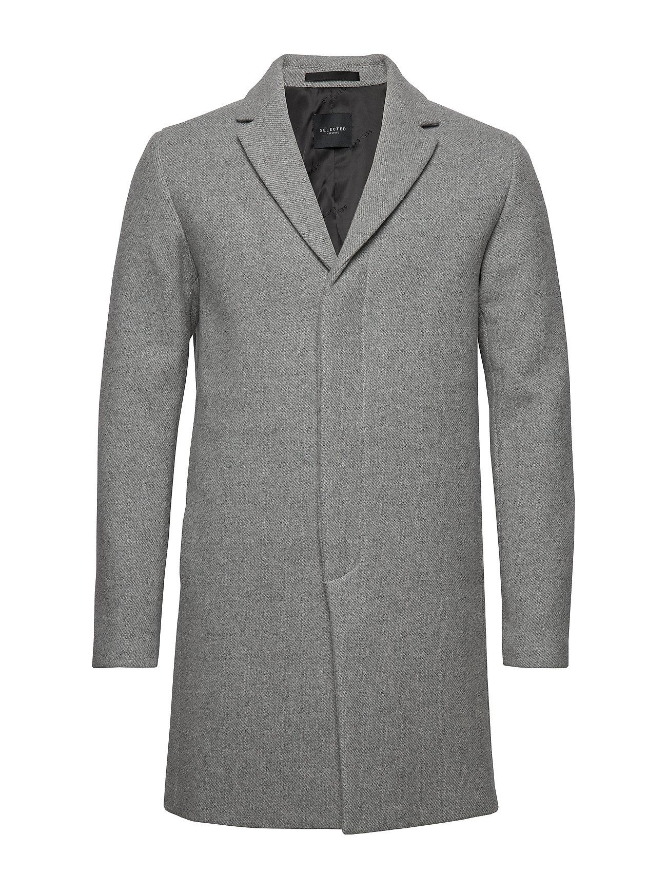 SELECTED Slhbrove Wool Coat B Wollmantel Mantel Grau SELECTED HOMME