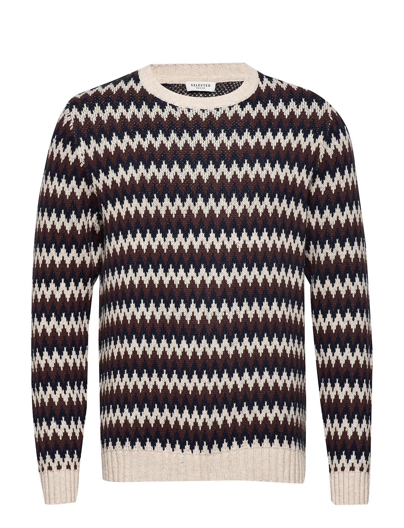 Selected Homme SLHJACK ZIG ZAG CREW NECK W - OYSTER GRAY