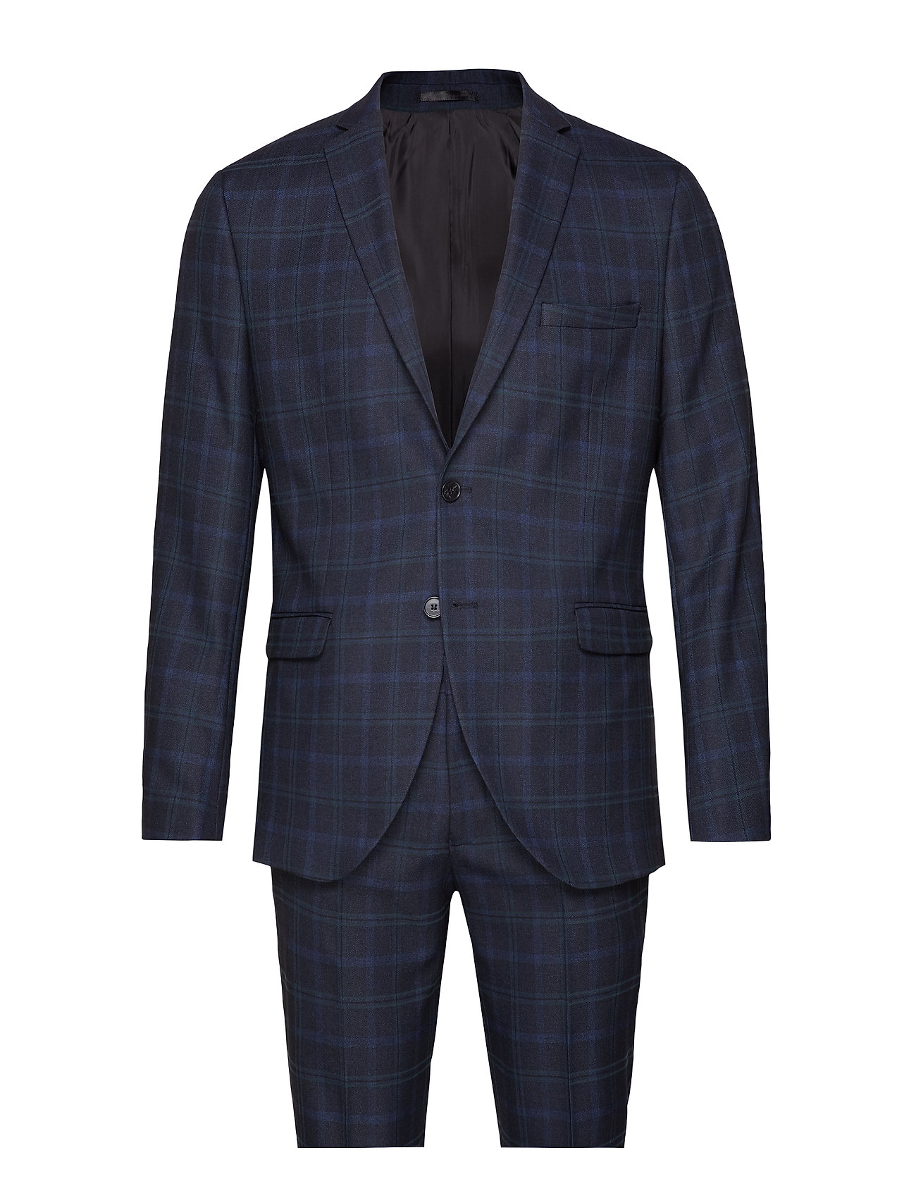 Selected Homme SLHSLIM-MYLONAPE DK BLUE CHECK SUIT B EX - DARK BLUE