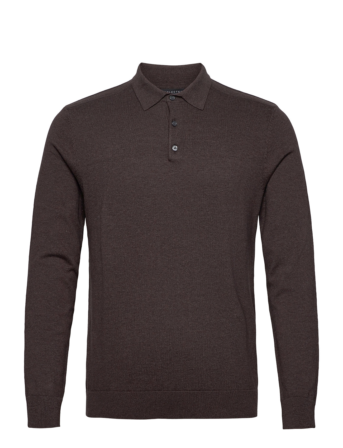 Slhberg Ls Polo Neck B Polos Long-sleeved Brun Selected Homme
