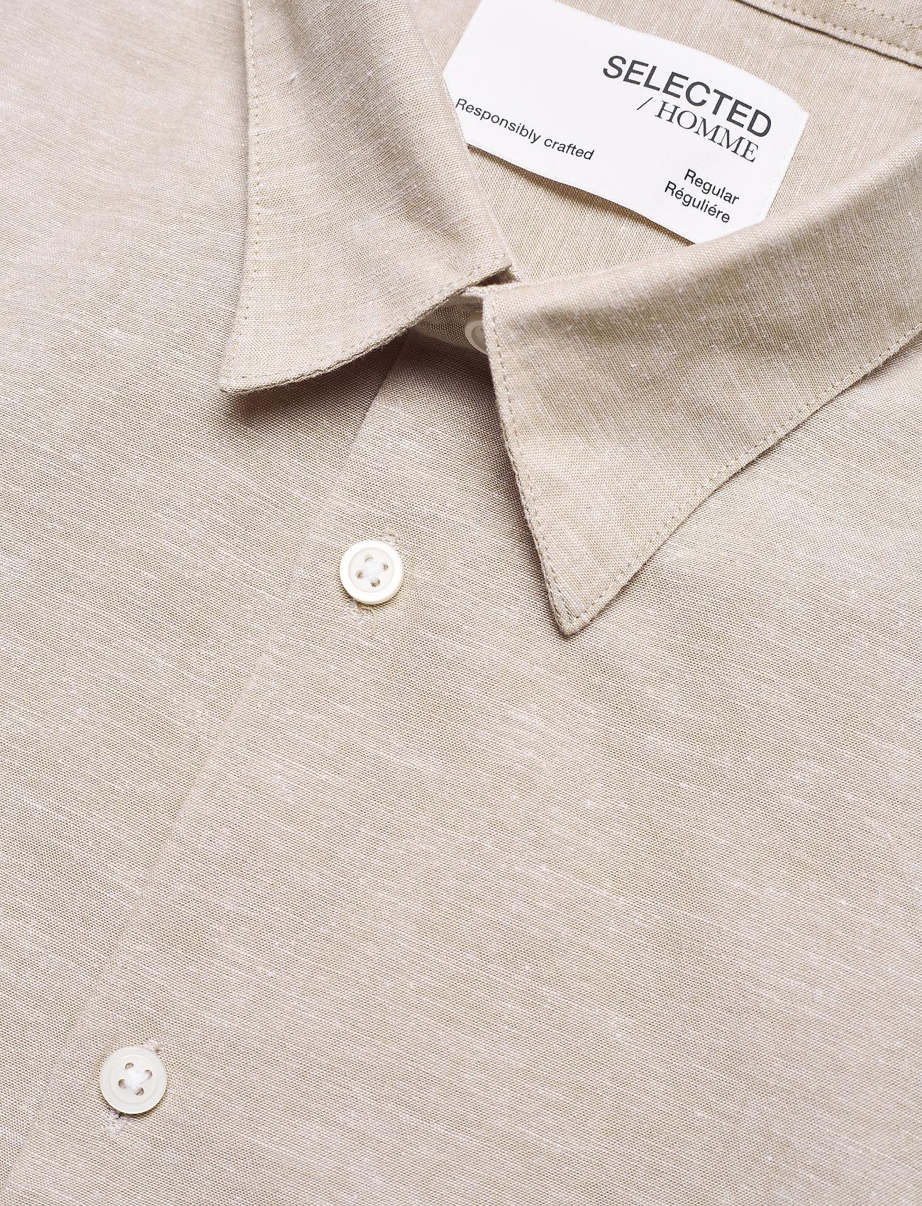 Selected Homme - SLHREGNEW-LINEN SHIRT SS CLASSIC W - koszule w kratkę - crockery - 3