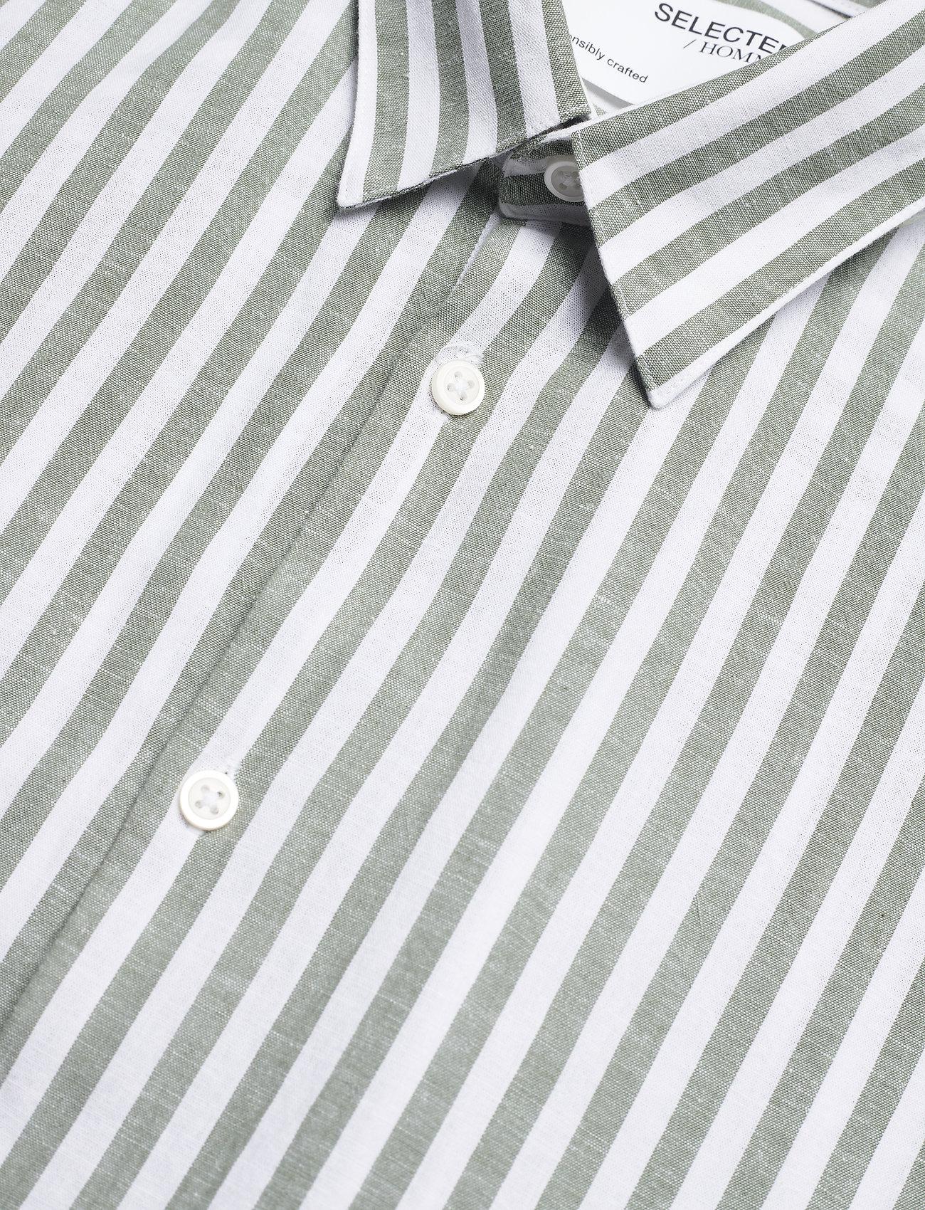 Selected Homme - SLHSLIMNEW-LINEN SHIRT LS CLASSIC W - geruite overhemden - smoke green - 3