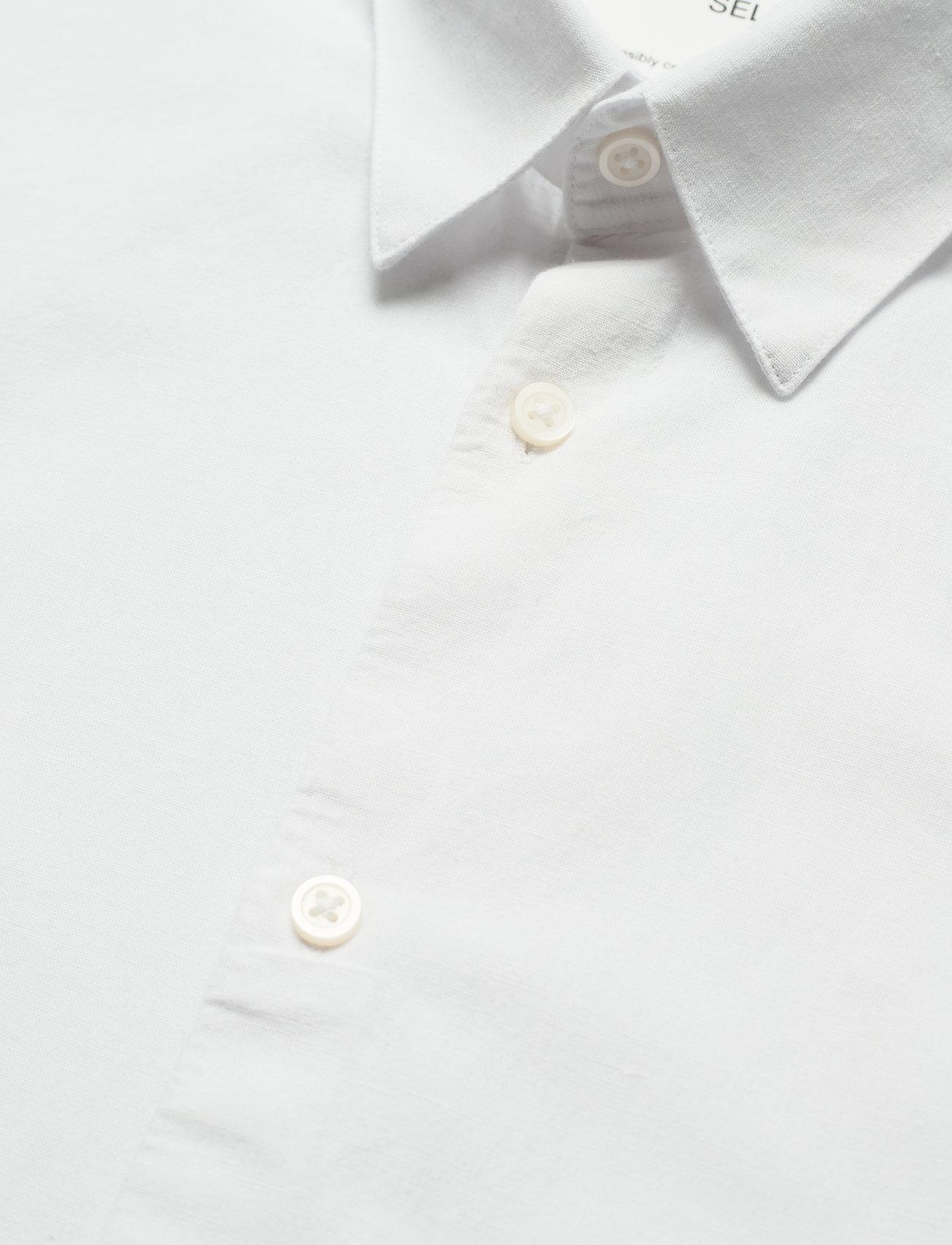 Selected Homme - SLHSLIMNEW-LINEN SHIRT LS CLASSIC W - chemises à carreaux - white - 3