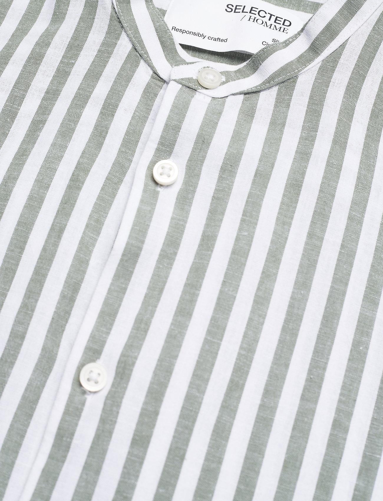 Selected Homme - SLHSLIMNEW-LINEN SHIRT LS CHINA W - koszule w kratkę - smoke green - 3