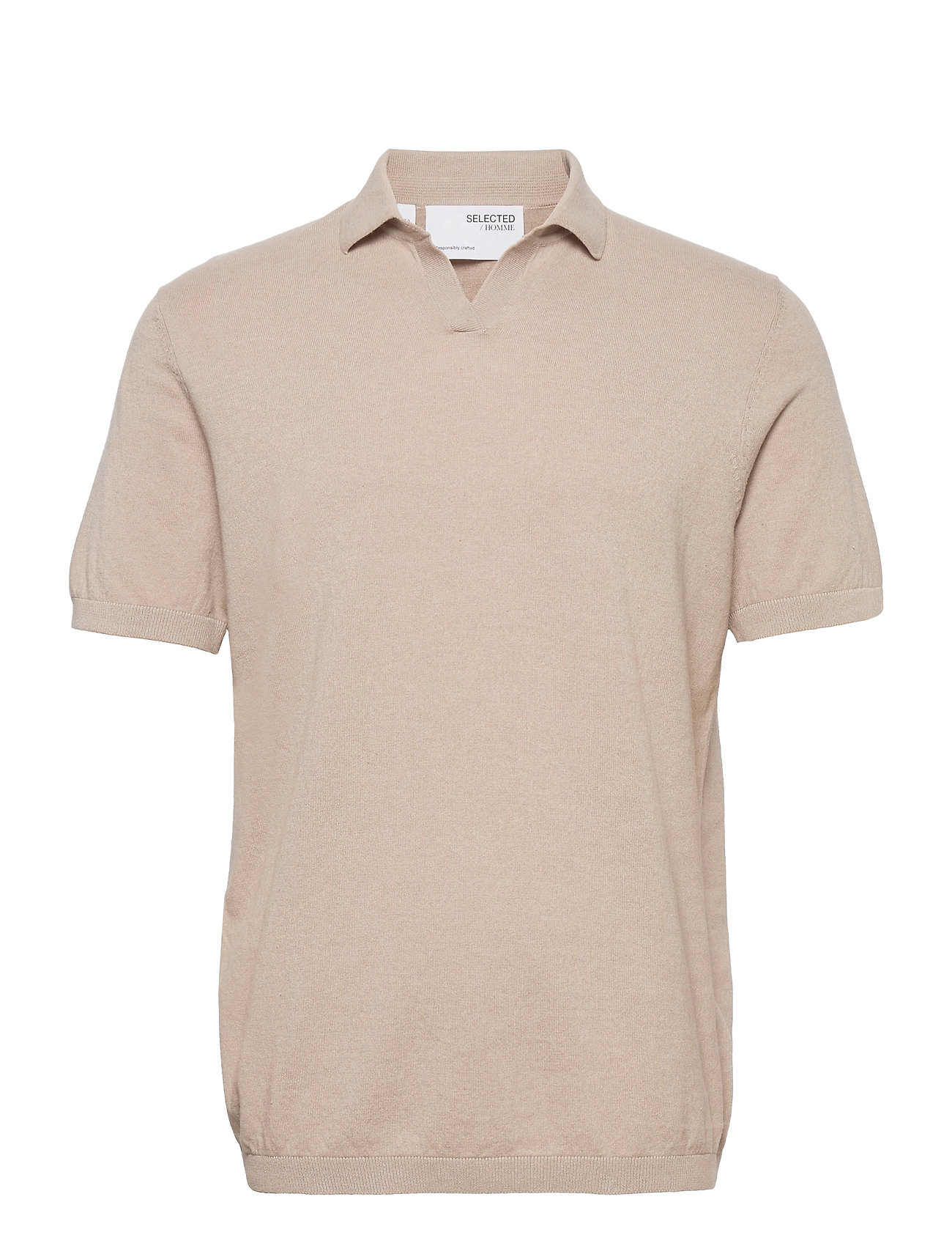 Slhopen Ss Knit Polo B Polos Short-sleeved Beige Selected Homme