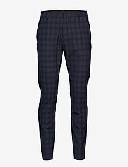 Selected Homme - SLHSLIM-MYLOLOGAN NAVY CHECK TRS B NOOS - suit trousers - navy blue - 0
