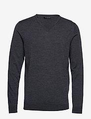 Selected Homme - SLHTOWER NEW MERINO V-NECK B NOOS - basic strik - medium grey melange - 0