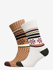 Selected Homme - SLH2-PACK HEAVY FLAKE SOCK W - regular socks - tobacco brown - 0