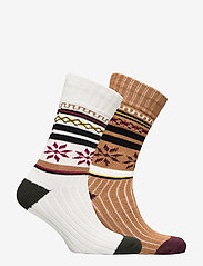 Selected Homme - SLH2-PACK HEAVY FLAKE SOCK W - regular socks - tobacco brown - 1