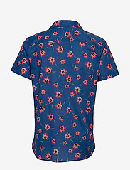 Selected Homme - SLHSLIMGALE SHIRT SS AOP W CAMP - short-sleeved shirts - estate blue - 1
