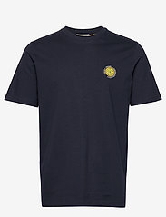 Selected Homme - SLHGILROY EMB SS O-NECK TEE W - basic t-shirts - sky captain - 0
