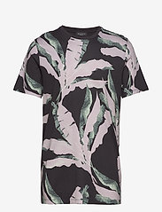 Selected Homme - SLHAVALON AOP SS O-NECK  TEE B - short-sleeved t-shirts - black - 0