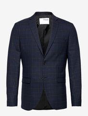 Selected Homme - SLHSLIM-MYLOBILL DK BLU GRCHK BLZ B - blazers met enkele rij knopen - dark blue - 0