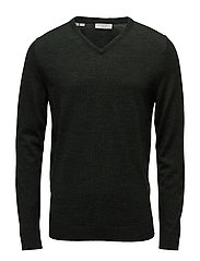 SHDTOWER MERINO V-NECK NOOS - DARK GREEN