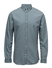 SHHONE-NOLANPRINT SHIRT LS - LIGHT BLUE DENIM