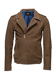 AB NEW BIKER SUEDE JACKET - SAND