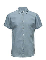SHHTWONOLAN-JACQ SHIRT SS - LIGHT BLUE DENIM