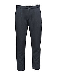 SHDRICH BLUE TAPERED CROP ST TROUSER - MEDIUM BLUE MELANGE