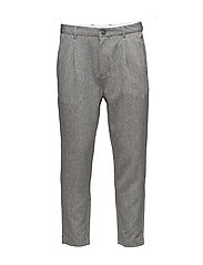 SHDRICH LT.GREY TAPERED CROP ST TROUSER - LIGHT GREY MELANGE