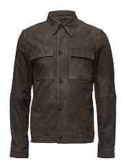 SHXMACALLAN SUEDE SHIRT JACKET - BLACK OLIVE
