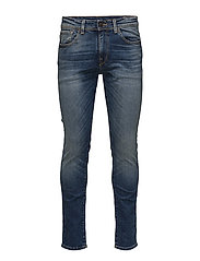 SHNSLIM-LEON 1428 MID.BLUE ST JEANS STS - MEDIUM BLUE DENIM