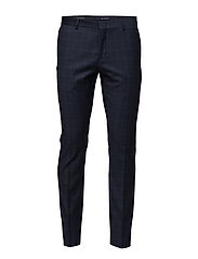 SHDONE-BUFFALO MINE NAVY CHECK TROUSER - DARK NAVY