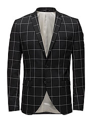 SHDZERO-JET GRID BLACK CHECK BLAZER - BLACK