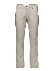 SHHTHREEPARIS SAND LINEN PANTS - CHINCHILLA
